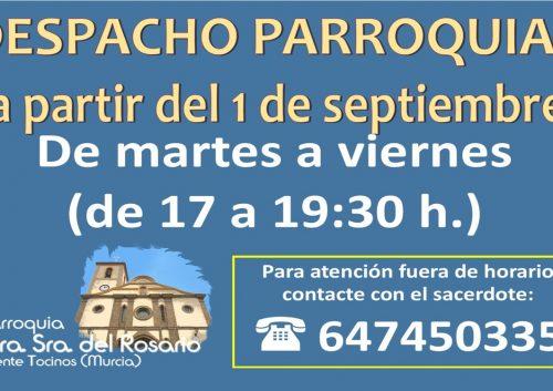 20210901_Despacho Parroquial a partir del 1 de septiembre